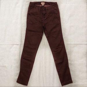 J. Crew Maroon Skinny Stretch Cargo Pants Size 23